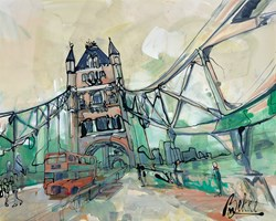 Bridge by Marieke Bekke - Original Painting on Box Canvas sized 39x32 inches. Available from Whitewall Galleries